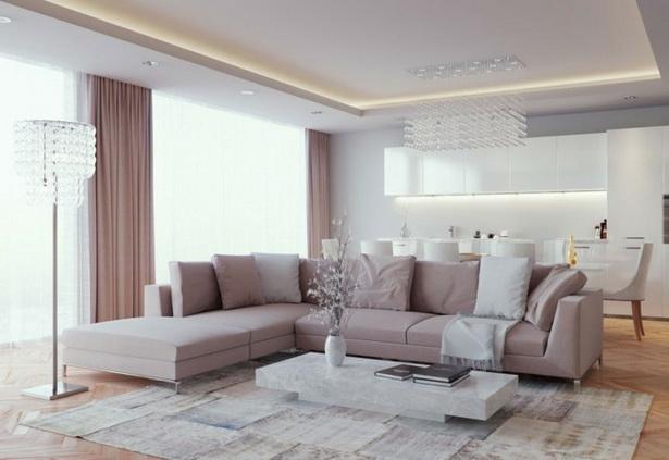 modernes wohnzimmer einrichten offener wohnplan beiges sofa schne stehlampe - Moderne Wohnstube