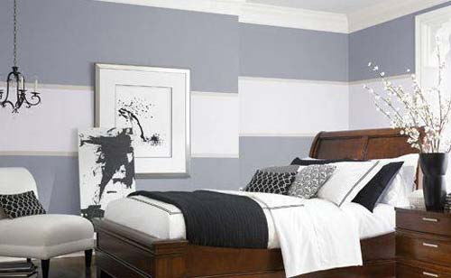 Wandgestaltung schlafzimmer grau