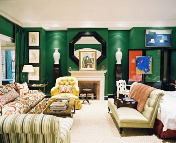 Wohnideen Wohnzimmer Grün Farben Wandgestaltung