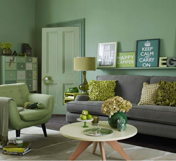 Wohnzimmer deko grün