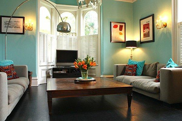 Wandfarben Ideen Wohnzimmer Türkis Weiß