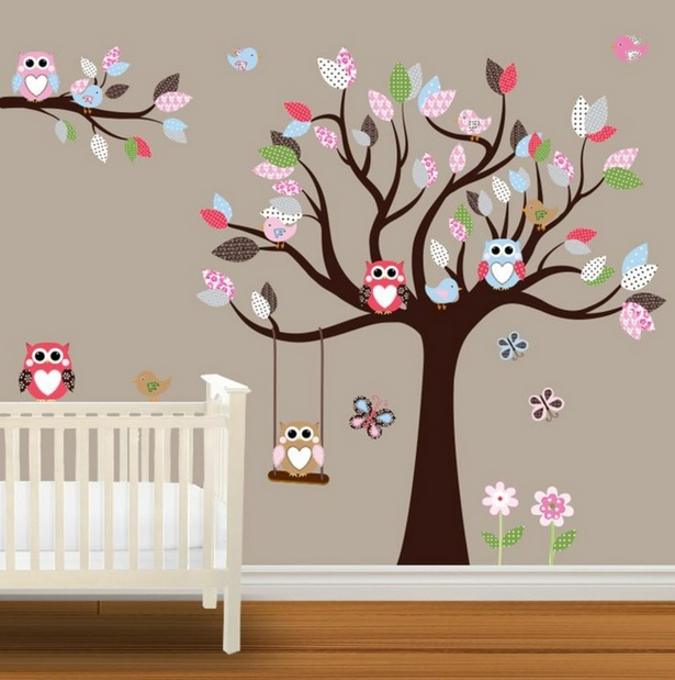 Babyzimmer wandgestaltung baum for Eulen wandtattoo kinderzimmer