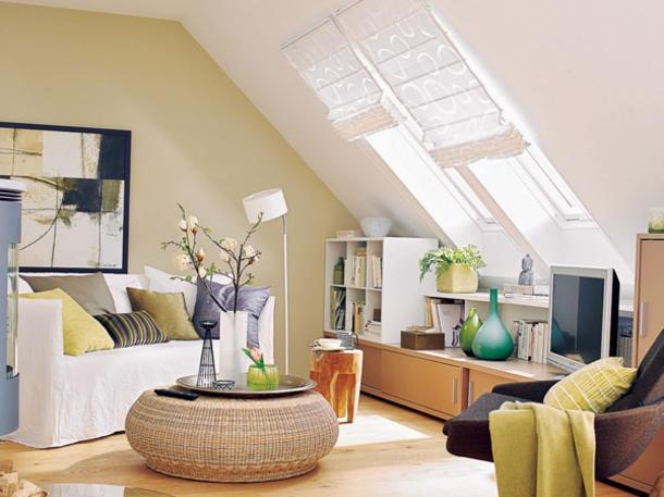 Dachschräge Wohnzimmer Einrichten