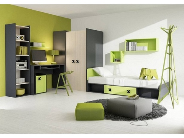 jugendzimmer grau gr n. Black Bedroom Furniture Sets. Home Design Ideas