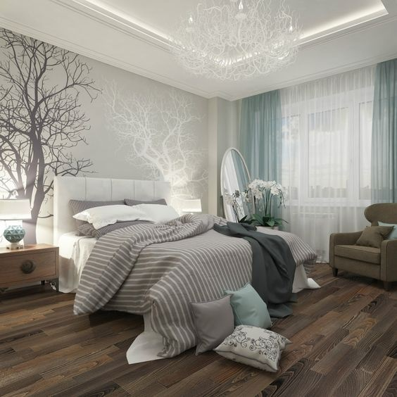 Schlafzimmer in grau und weiß