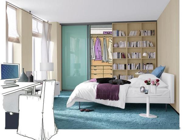 schlafzimmer und b ro in einem raum. Black Bedroom Furniture Sets. Home Design Ideas