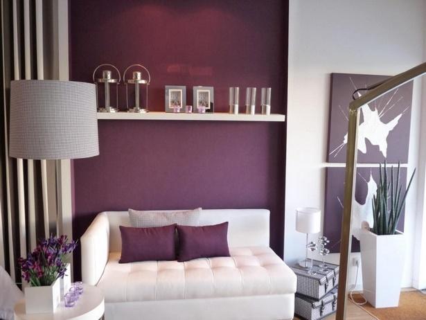 Wandanstrich ideen wohnzimmer - Chambre aubergine et gris ...