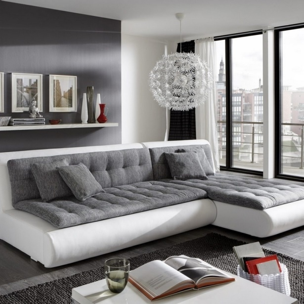 wohnzimmer ideen weiss grau. Black Bedroom Furniture Sets. Home Design Ideas