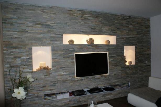 Wohnzimmerwand selbst gestalten - Zimmer mit steintapete ...