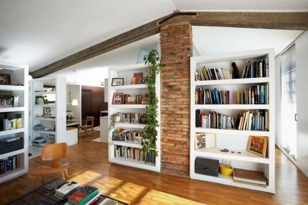 Wohnzimmer Gestalten Ideen Naturstein Wand Holz Balken