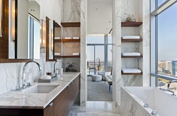 Kleines Bad Marmor Möbel Großer Spiegel Badewanne