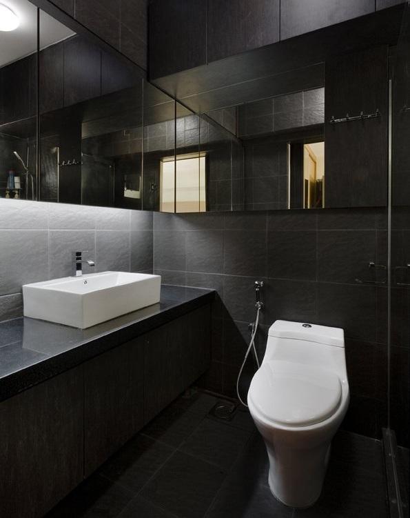 schwarze fliesen bad - Badezimmer Schwarz