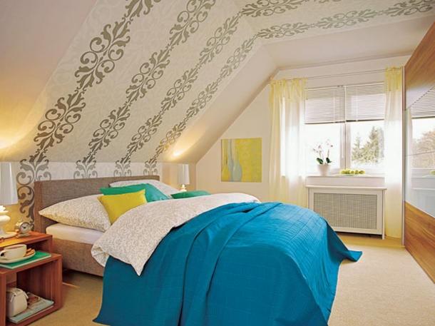 Raumgestaltung farbe dachschr ge for Raumgestaltung wohnzimmer beispiele