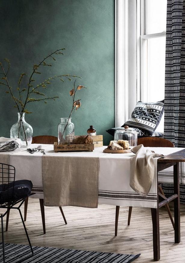Wandgestaltung wohnzimmer farbe - Wohnzimmer petrol braun ...