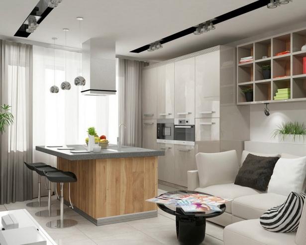 küche und wohnzimmer in einem raum